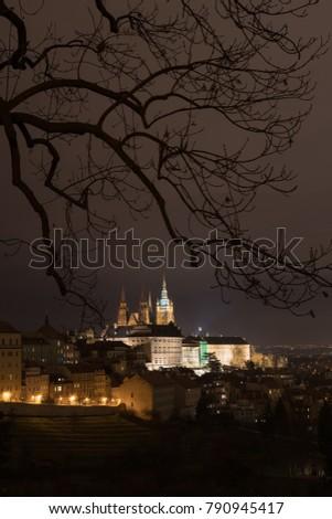 The Metropolitan Cathedral of Saints Vitus, Wenceslaus and Adalbert is a Roman Catholic metropolitan cathedral in Prague, the seat of the Archbishop of Prague. At night.  #790945417