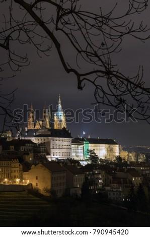 The Metropolitan Cathedral of Saints Vitus, Wenceslaus and Adalbert is a Roman Catholic metropolitan cathedral in Prague, the seat of the Archbishop of Prague. At night.  #790945420