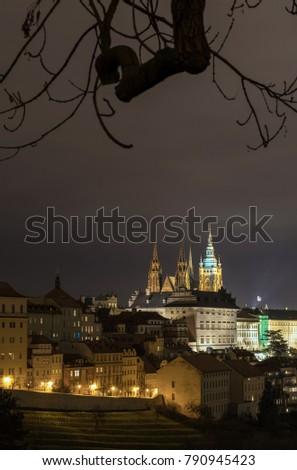 The Metropolitan Cathedral of Saints Vitus, Wenceslaus and Adalbert is a Roman Catholic metropolitan cathedral in Prague, the seat of the Archbishop of Prague. At night.  #790945423