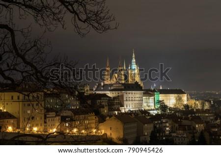 The Metropolitan Cathedral of Saints Vitus, Wenceslaus and Adalbert is a Roman Catholic metropolitan cathedral in Prague, the seat of the Archbishop of Prague. At night.  #790945426