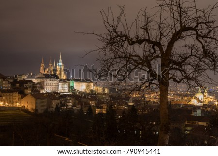 The Metropolitan Cathedral of Saints Vitus, Wenceslaus and Adalbert is a Roman Catholic metropolitan cathedral in Prague, the seat of the Archbishop of Prague. At night.  #790945441