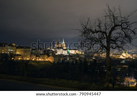 The Metropolitan Cathedral of Saints Vitus, Wenceslaus and Adalbert is a Roman Catholic metropolitan cathedral in Prague, the seat of the Archbishop of Prague. At night.  #790945447