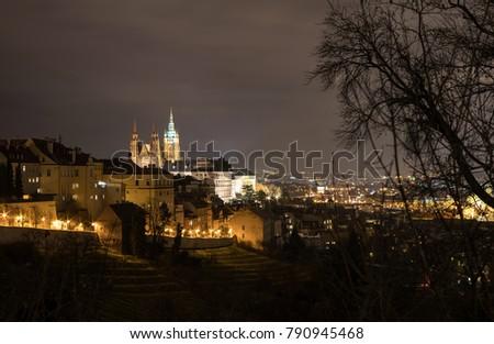 The Metropolitan Cathedral of Saints Vitus, Wenceslaus and Adalbert is a Roman Catholic metropolitan cathedral in Prague, the seat of the Archbishop of Prague. At night.  #790945468