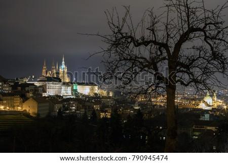The Metropolitan Cathedral of Saints Vitus, Wenceslaus and Adalbert is a Roman Catholic metropolitan cathedral in Prague, the seat of the Archbishop of Prague. At night.  #790945474