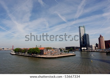 the Meuse River as seen from the Erasmus Bridge rotterdam Holland