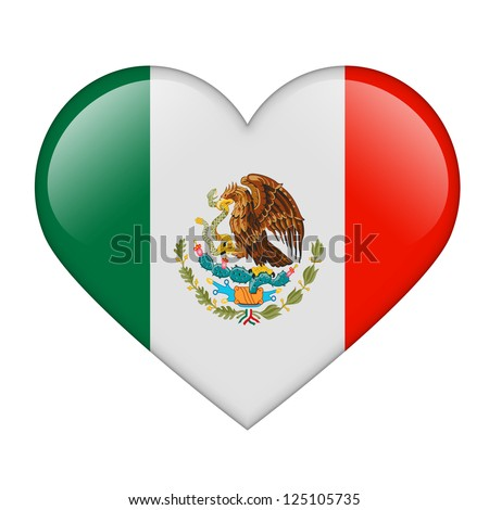 The Mexican flag in the form of a glossy heart