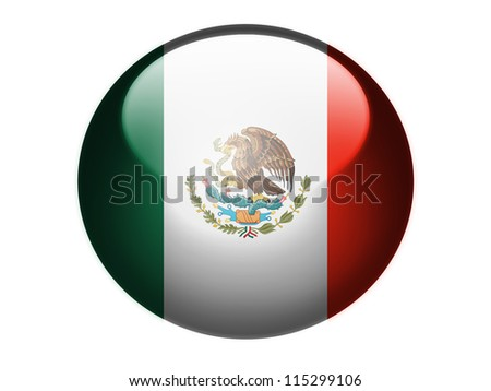 The Mexican flag painted on  glossy round sphere or icon