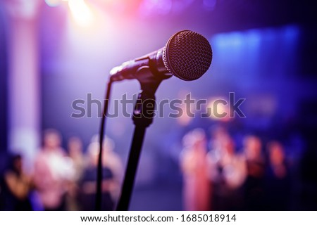 The microphone on stage before the artist performance Stock foto ©