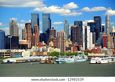 The Mid-town Manhattan Skyline viewed from New Jersey side