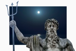 The mighty god of the sea and oceans Neptune (Poseidon) against sea at night. The ancient statue.
