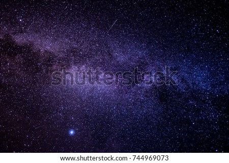 The Milky Way and the stars in the beautiful night sky #744969073