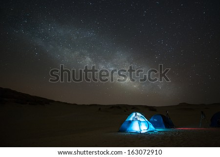 the milky way in front of a tent/Milky way and the blue tent/Fayoum Cairo Egypt #163072910