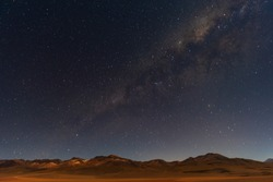 The Milky Way in the Andes mountain range of the Siloli desert in Bolivia located near the Atacama desert of Chile, South America.