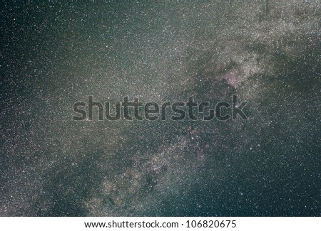 The Milky Way in the constellation of Cygnus. Long exposure photograph.
