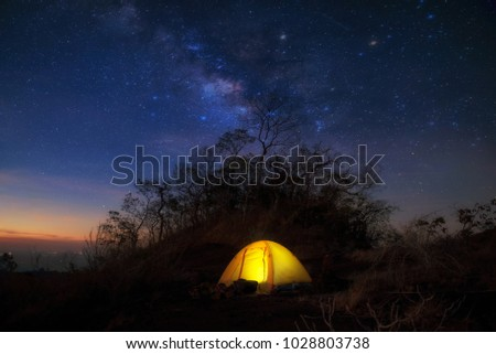 The Milky Way on Mountain and Yellow Camping Tent in Thailand