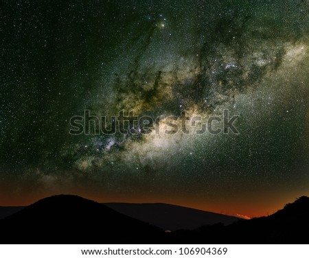 The Milky Way over the mountains. Long exposure photograph from an astronomical observatory site.