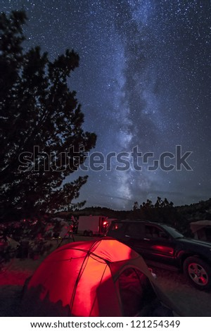 The Milky Way stands up straight over the viewing field and camping tents at an Oklahoma Star Party