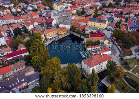 The Mill Pond (Malom-tó) in Tapolca. The Lake is surrounded by antique buildings and high stone walls, is the most popular place of the town. Amazing colorful little resort town near by Lake Balaton Stock fotó ©