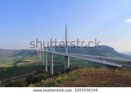 The Millau viaduct from the side, France. Photo stock ©