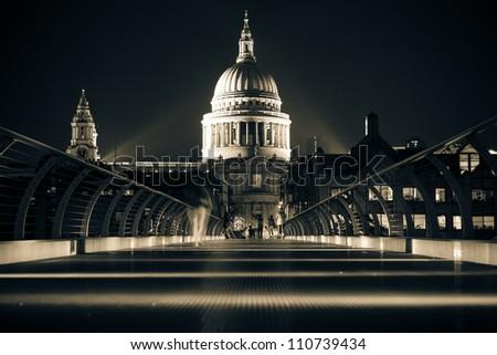 The Millennium Bridge at Night in London