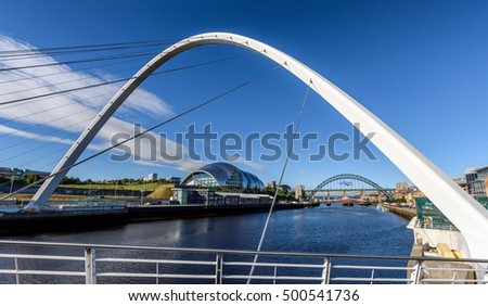 The Millennium bridge over the Tyne River is in Newcastle England. #500541736