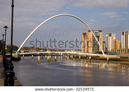 The Millennium Foot Bridge, Newcastle-upon-Tyne UK on a sunny day