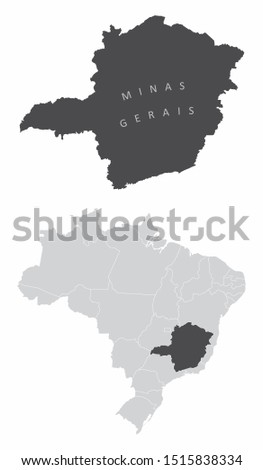 The Minas Gerais State map and its location in Brazil