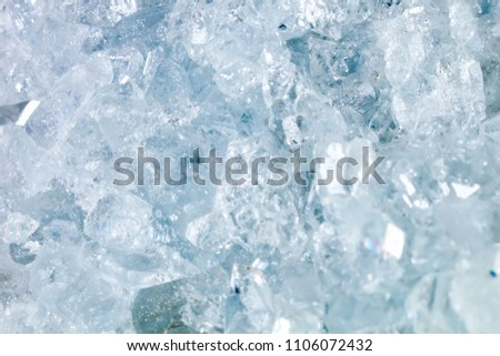 The mineral Celestine. The texture of the mineral. Macro shooting of natural gemstone. The raw mineral. Abstract background.