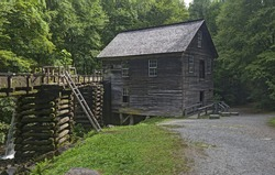 The Mingus Mill is a historic grist mill that uses a water powered turbine to power all the machinery in the building.  A Public Property located in the Great Smoky Mountains National Park.