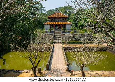 The Minh Mang Royal Tomb in Hue, Vietnam, is the final resting place of one of the Nguyen Dynasty's staunchest Confucians Stock fotó ©