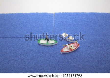 the mini figure of boat with figure  #1254181792