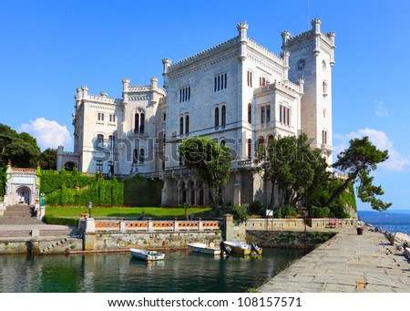 The Miramare Castle in Trieste, a nineteenth-century castle of white stone perched above the Adriatic sea.  Italy.