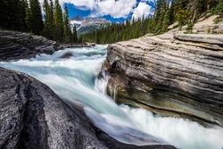 The Mistaya River becomes Mistaya Canyon, Banff National Park, Alberta.
