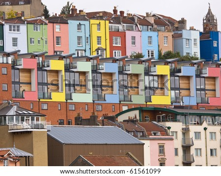 The mix of crowded colourful modern and traditional housing and apartments overlooking Bristol harbour UK Stock fotó ©
