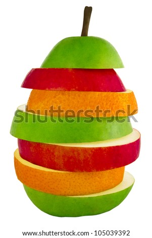 The mixed fruit isolated on a white background - stock photo