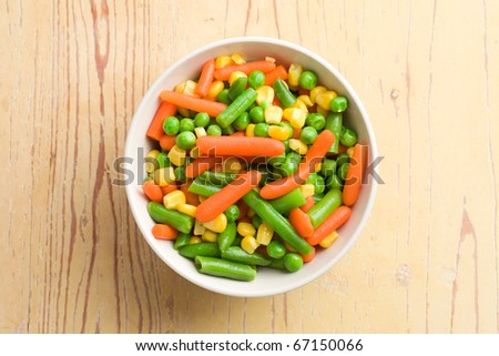 the mixed vegetables in bowl