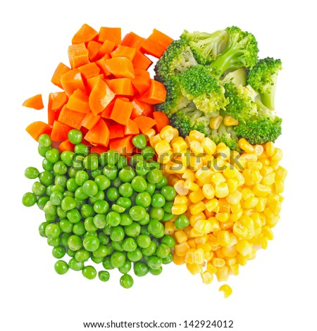 the mixed vegetables on white background - stock photo