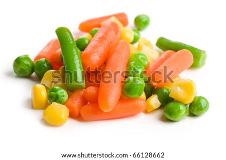 the mixed vegetables on white background