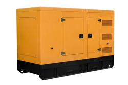 The mobile industrial diesel power generator on a white background works with a clipping path.