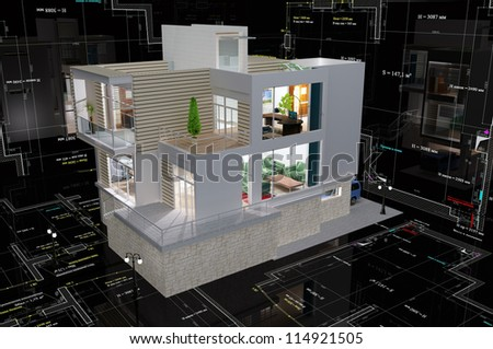 The model cottage on a black background.