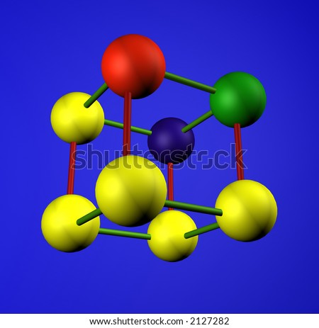The model of a molecule on a dark blue background is created in 3D to the program