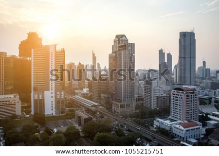 The modern building of Asia Business financial district and commercial in bangkok thailand #1055215751