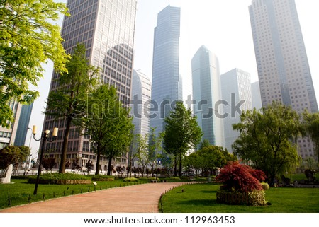 the modern building of the financial center in shanghai china.