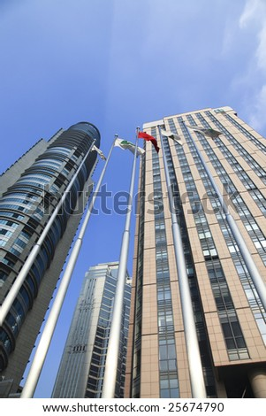 the modern building of the lujiazui financial centre in shanghai china.