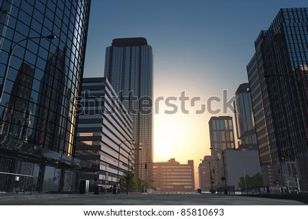 stock photo the modern buildings of the city skyscrapers 85810693 - Каталог — Фотообои «Улицы, переулки»