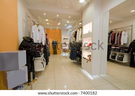 the modern cloth shop interior photo - stock photo