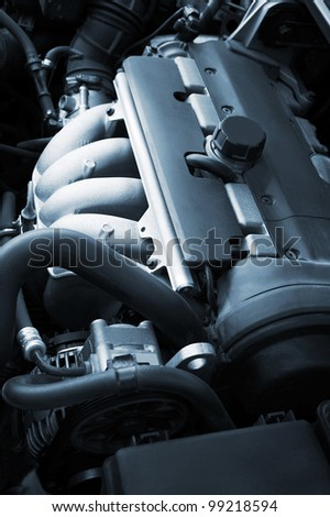 The modern engine of the new car