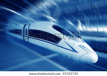 the modern high speed train with motion blur - stock photo