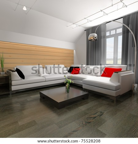 The modern home interior 3d rendering - stock photo