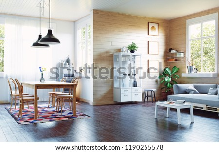 The modern home interior in country style. 3d rendering design concept #1190255578